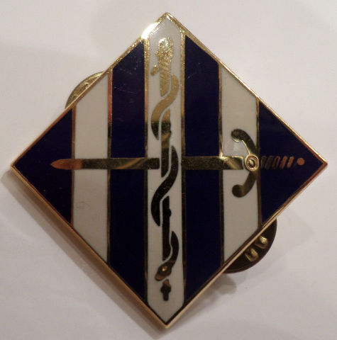 Us Military Hat Lapel Pin White And Blue Stripes Sword And Snake