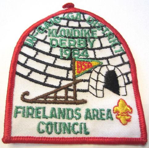 Vintage Uniform Patch Boy Scout Firelands Area Council Klondike Derby 1984