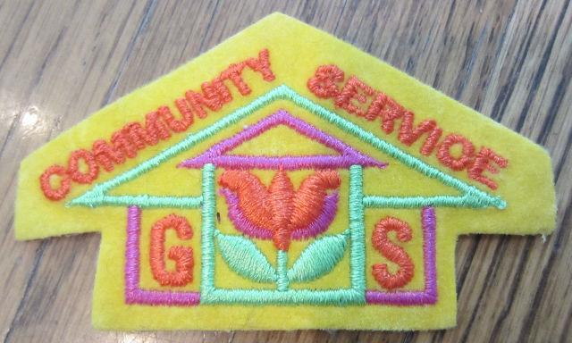 Girl Scout Gs Vintage Uniform Patch  Gs Community Service