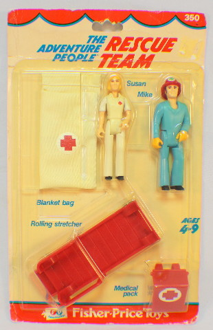 Fisher Price Vintage Adventure People Rescue Team in original Blister Pack 1976