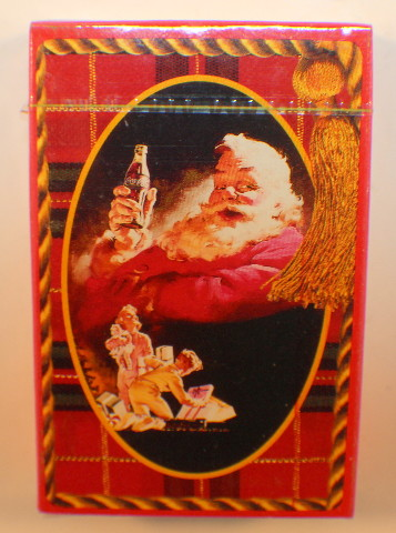Deck Of Playing Cards Sealed New Plastic Coated Traditional Santa Claus Red Box