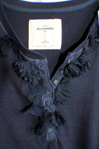 Abercrombie Girl Kids Nwt Sz S (7-8) Navy Fancy T-Shirt Button Front