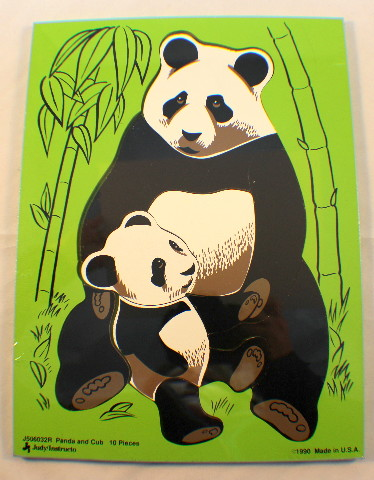 Judy Instructo Vintage Wooden Puzzle Panda and Cub 10 pc 1990