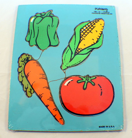 Playskool Vintage Wooden Puzzle Favorite Vegetables Made in USA 4 pc #180-10