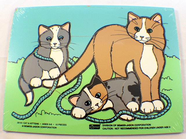 Conner Toy Vintage Wooden Puzzle Cats and Kittens with String 10 pc