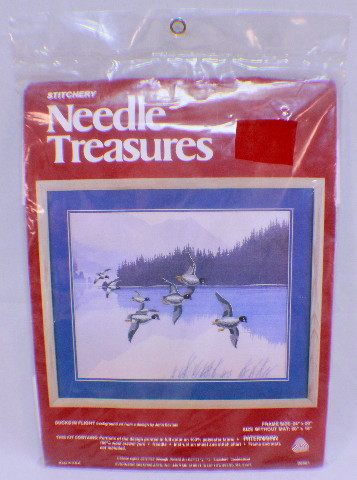 "Stitchery Needle Treasures Ducks In Flight Frame Size 24"" X 20"" Approx New Kit"
