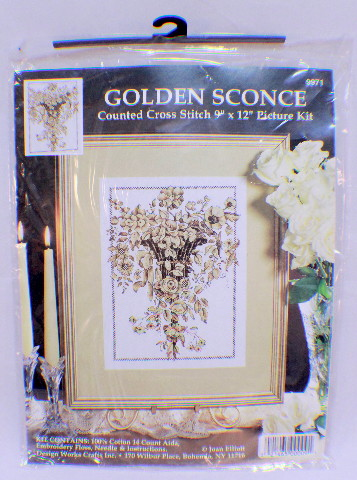 """Golden Sconce 9"""" x 12"""" Counted Cross Stitch Picture Kit by Design Works New"""