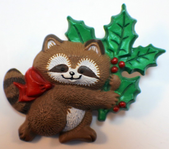 VTG Cute Raccoon Holly Bow Brown White Red Green Pin HALLMARK