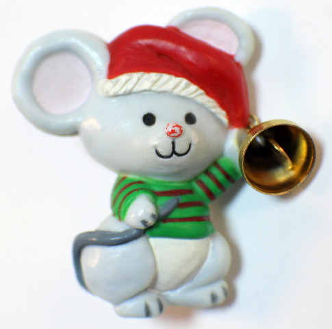 VTG Hallmark Hat Lapel pin Bitty Mouse with a Jingle Bell and Santa Hat