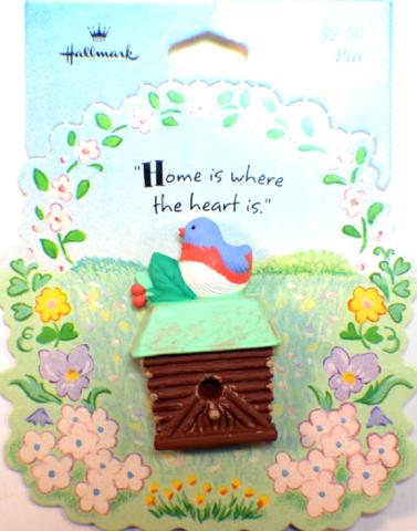 Home is where the Heart is Birdhouse Bird Hallmark Hat Lapel Pin Brooch on Card