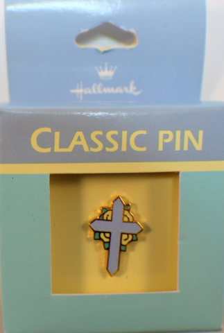 Easter Cross in blue Hallmark Hat Lapel Pin Brooch in box tie tack