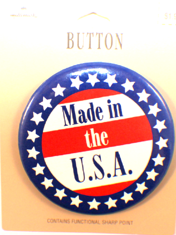 Made in the USA Button Hallmark Lapel Pin on original card
