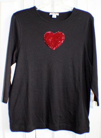 Women's NWT Hampshire Studios Sz Large LG 3/4 length sleeve Sequined Heart