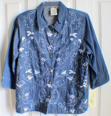 Women's Allison Daley 12 Petite Embroidered Button Down Denim Jean Jacket