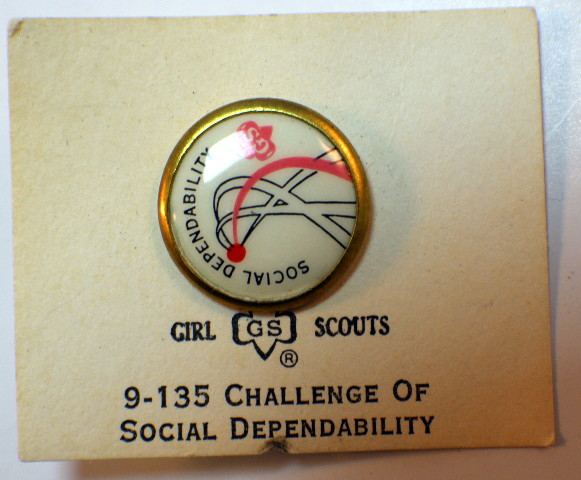 Vintage  Girl Scout G.S. Challenge of Social Dependability Pin