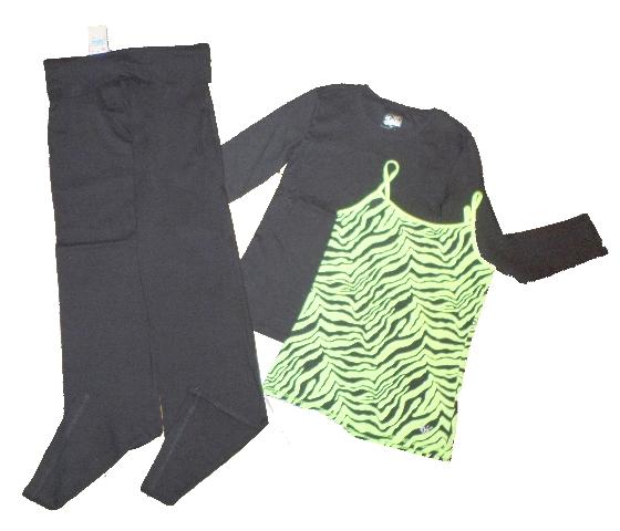 New Girls Justice Black Yoga Pants Lot 10 12 Shirt Green Zebra Cami