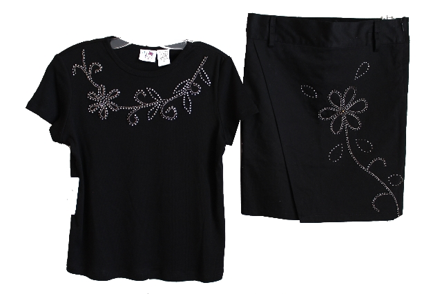 New B G Beautiful Girl 2 Pc Skirt Outfit Lot Black Beaded Crystals Sz 10 NWT