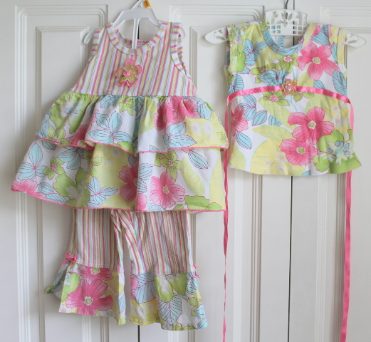 Baby Nay Sz 18 months 3 pc Lot Outfit Leggings 2 tops w/Stripes Ruffles Flowers USA