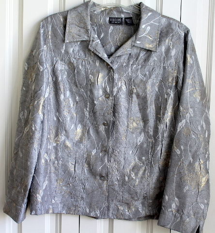 Chicos Additions Gray Brocade Button Up Long Sleeve Shirt Jacket Womens Sz 2 (12 14)