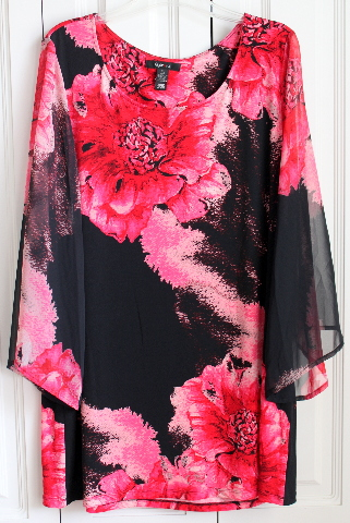 Style & Co Holiday Sheer Sleeve Poly Poppy Print Lagenlook Tunic Blouse Womens XL