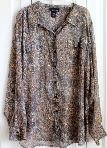 Lane Bryant Dark Greys Gold Accents Sheer Button Up Long Sleeve Shirt Womens 18 20