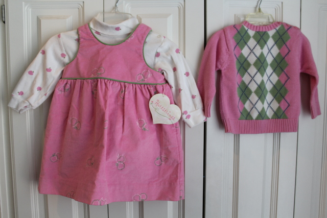 Hartstrings 3 Pc Boutique Apple Lot NWT Pink Jumper Dress Sweater Onsie Sz 24 Mo