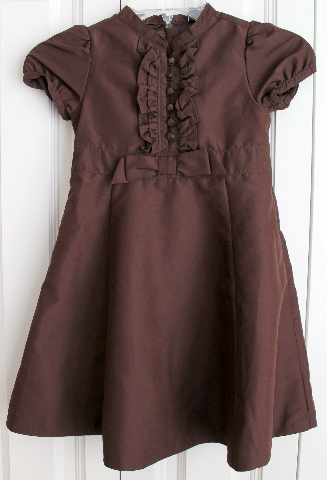 Girls Baby Gap Toddler Sz 5 Years Chic Brown Button Ruffle Short Sleeve Dress