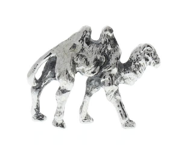 Pewter Metal 2 Hump Desert Camel Animal Figurine in silver tone
