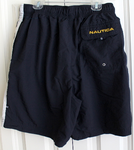 Mens Teens Sz S  Nautica Swim Shorts Navy White