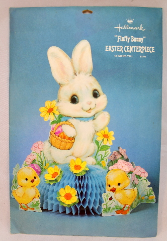 """Hallmark Fluffy Bunny Party Easter Centerpiece New and Sealed 12"""" tall"""