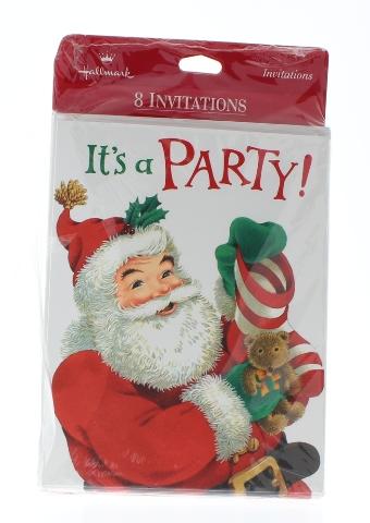 Hallmark Party Invitation With Santa Set 8 & Envelope Ho Ho Hope you can come