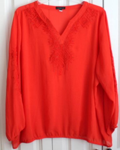 Women's Plus Lane Bryant Marmalade Sz 26/28 V Neck Blouse Long Sleeve