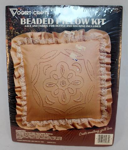 """Vogart Beaded Ruffled Pillow Kit New FACTORY SEALED 14"""" X 14"""""""