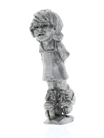 Handcrafted Solid Pewter Little Girl on Roller Skates