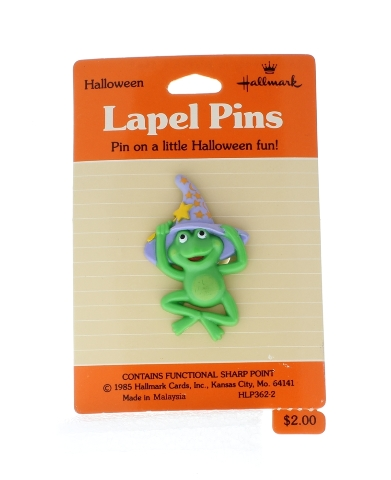 Hallmark Halloween Pin Frog in a Witches Hat Wizzard's Hat