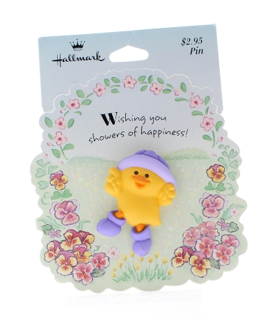 Hallmark Easter Pin Chick in purple hat and boots for Spring