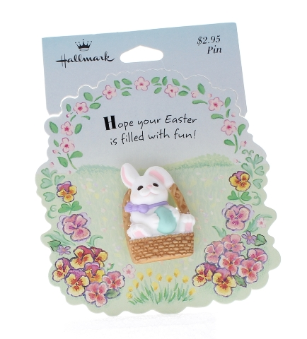 Hallmark Easter Pin White Bunny Rabbit in an Easter Basket