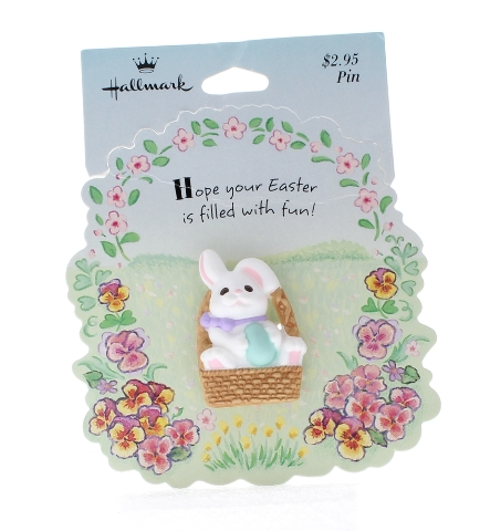 Hallmark Easter Pin Easter Bunny Rabbit in a Basket with an Egg