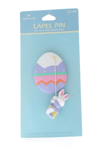Hallmark Easter Pin Easter Bunny Rabbit Dangling from an Egg