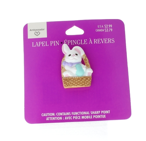 Hallmark Easter Hat Lapel Pin White Bunny Rabbit with Basket and Egg