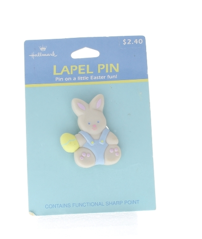 Hallmark Easter Hat Lapel Pin Bunny Rabbit with an Easter Egg