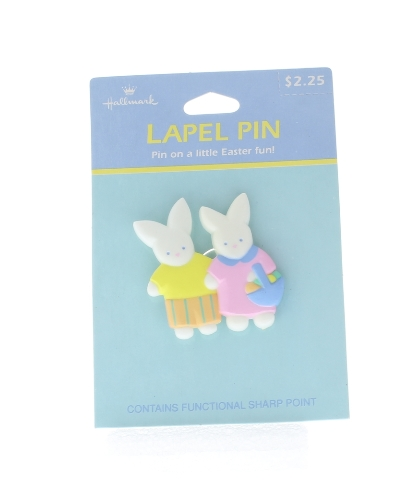 Hallmark Easter Hat Lapel Pin Bunny Rabbit Little Boy and Girl with basket