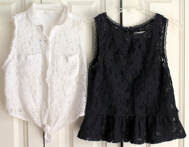 A & F Abercrombie & Fitch Kids Sz M 2 Lace Top Lot White Navy