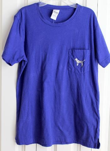 Victoria's Secret Pink Womens Sz XS Royal Blue Sequin T Shirt EUC