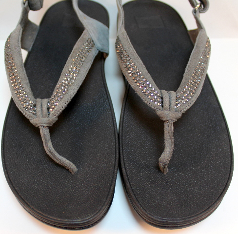 4e1d40ad9a31c8 Fitflop Crystal Swirl Pewter Gray Wedge Sandal NIB Bling New US 10 Eu 42