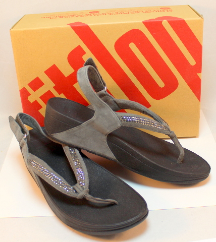 Fitflop Crystal Swirl Pewter Gray Wedge Sandal NIB Bling New US 10 Eu 42