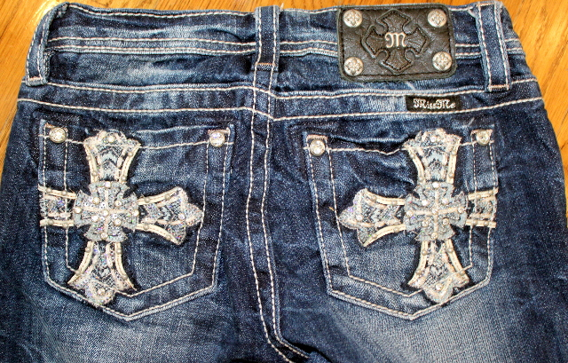 Girls Miss Me Dark Wash Denim Wave Boot Crystal Cross Jeans Sz 12