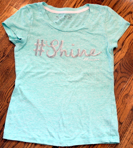 Girls Miss Me Sz L Aqua Graphic Shine Short Sleeve T-Shirt Top