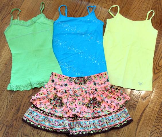 Justice Sz 10 12 Skirt Lot Marrakesh +  3 Cami Tops Shimmer