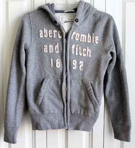 Details about Boys Abercrombie Kids A&F Sz L Gray Full Zipper Hooded Sweatshirt Jacket
